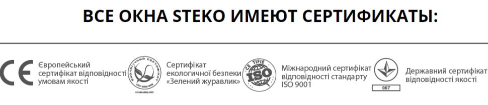 Сертификаты на металлопластиковые окна Стеко
